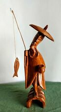 """Vintage Hand Carved Asian Fisherman w/Pole - Wood Carving - 12"""" tall"""
