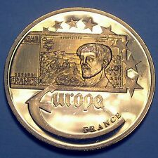 EUROPE FRANCE 20 FRANCS 2003 UNC Proof Medal 40mm 22g Gold Plated Copper.