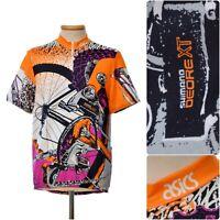vintage ASICS cycling Jersey XL Shimano DEORE XT 90s neon MTB rare 26er rad retr