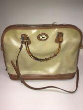 Vintage Dooney & Bourke Panama Linen Satchel Tan Leather Trim Handbag W/ Bamboo