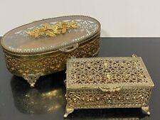 Vtg 2pc Art Nouveau Gold Gilt Ormolu Ornate Hinged Glass Jewelry Vanity Box