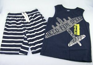 Boys GYMBOREE navy blue airplane tank top t shirt knit shorts 7 8 outfit striped