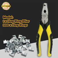 1Pcs Hog Ring Plier Tool & 300Pcs M Clips Staples Chicken Mesh Cage Wire Fencing