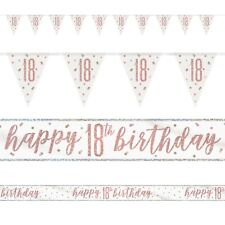 Rose Gold Glitz Age 18 Birthday Banners, Foil Banner, Flag Banner, Party, Pink