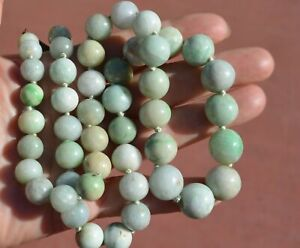 1930's Chinese Natural Jade Jadeite Carved Carving 13mm Bead Necklace Cloisonne