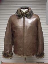 New Men's Italian Genuine Fur/Leather Jacket With Sheepskin Shearling Inside