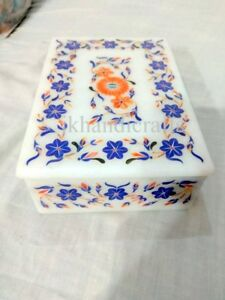 "7"" x 5"" White Marble Jewelry Box Inlay Marquetry Floral Living Room Decor"