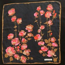 "vintage CHRISTIAN DIOR washed black silk scarf Floral print size 30"" square"