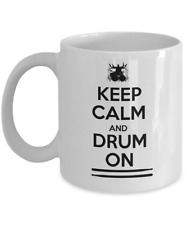 Music coffee mug - Keep calm and drum on - percussionist gift drummer musician