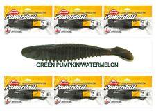 "(6) Unopened Bags Berkley Powerbait 6"" Slim Shad Green Pumpkin / Watermelon New"