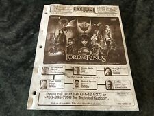 Arcade Game, Stern Pinball, Lord of the Rings Instruction Manual