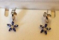 White Gold Hallmarked Tanzanite Earrings In Presentation Box