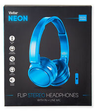 Vivitar Kids / Teen Neon Over Ear Headphones Folding with In-Line Mic  3.5mm NIB
