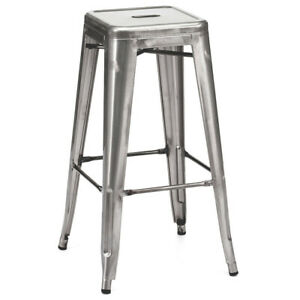 "NEW! MODERN STEEL 30"" BARSTOOL - SET OF 2 RETRO TOLIX-STYLE BAR STOOL - AJAX GM"