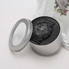 Jewelry Round Metal Wrist Watch Display Box Storage Organizer Case With Cushion