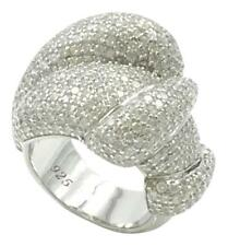 RHODIUM PLATED .925 STERLING SILVER HIGH END CUBIC ZIRCONIA COCKTAIL RING, 6.25