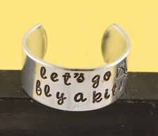 Let's Go Fly A Kite Ring Hand Stamped Adjustable Aluminum Ring Handstamped Ring
