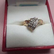 Women's Diamond and Yellow 10KT Gold Cluster Ring, NIB