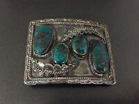 Vintage Navajo Native Indian Andrew Largo Turquoise Sterling Silver Belt Buckle