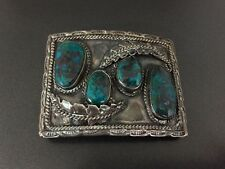 Vintage Navajo Native Indian Andrew Largo Turquoise Sterling Silver Belt Buckle
