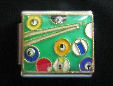 Charm fits Classic modular Bracelets 9mm Billiards Pool Balls & Stick Italian