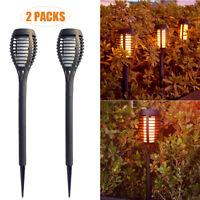 2/8Pack 12 LED Solar Mini Torch Flickering Flame Dance Light Outdoor Garden Lamp