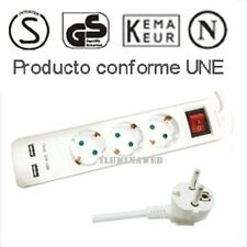 Base Multiple Regleta 3 Tomas enchufe Schuko + 2 USB 2.1A, 3x1,5mm - 1,5 metros