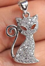 Cute Kitty Animal Pussy Cat Lovers Silver Crystal Pendant Necklace
