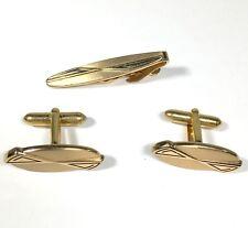 Vintage Swank Cuff Links and Tie Clip Bar Gold Tone Cufflinks Atomic Era MCM