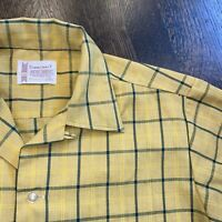 Vtg 50s 60s TOWNCRAFT Penneys Shirt Loop Collar Plaid L/S Midcentury MENS SMALL