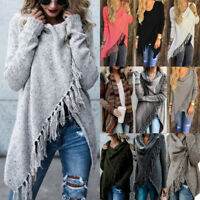 Womens Tassel Fringe Cardigan Knit Jumper Pullover Casual Coat Outerwear Autumn