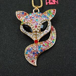 Fashion Colorful Enamel Crystal Fox Head Pendant Betsey Johnson Long Necklace