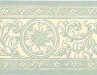 Victorian Damask Blue Cream Scroll Acanthus Leaf Medallion Wall paper Border