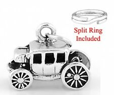 "STERLING SILVER "" 3D STAGECOACH"" CHARM WITH SPLIT RING"