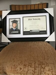 """NEW Graduation Double Diploma Frame - Picture and Certificate - BLACK 21""""x13""""."""