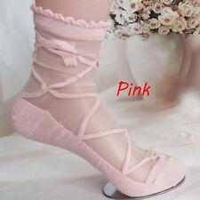 2017 Women Lady Bowknot Sheer Mesh Knit Frill Trim Transparent Ankle Socks Pink