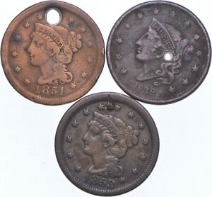 HOLY Lot - Hole - 1851 1838 1853 - Large Cent Penny Collection - Holed *625