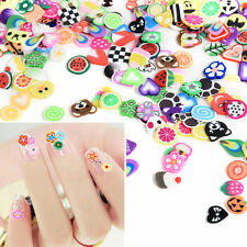 1000pc Assorted 3D Fruit Animals Fimo Slice Clay DIY Nail Art Tips Sticker Decor