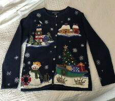 Northern Isles Christmas Sweater Cardigan Small Lighthouse Snowman Village Tree