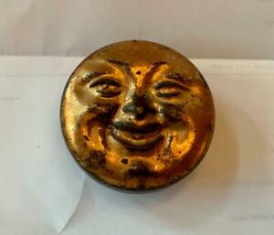 Man In The Moon Tin Box Snuff Patch Jewelry Trinket Pill Box c1880 Rare