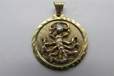 Vintage Zodiac 14k Solid Yellow Gold Scorpio Diamond Astrology Charm Pendant