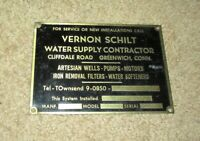 ANTIQUE BRASS VERNON SCHILT WATER SUPPLY CONTRACTOR MACHINE INDUSTRIAL PLATE