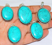 Turquoise Gemstone Pendant Wholesale Lot 1pcs 925 silver Plated Handmade Pendant