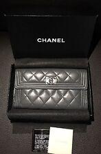 RARE CHANEL Bifold CC Boy Logo Gunmetal Gray Leather Snap Long Wallet Card Bill