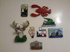 Set Of 8 Vtg Us State & City Souvenir Refrigerator Magnets
