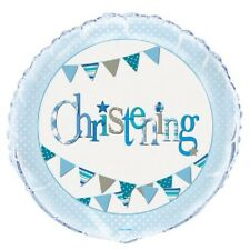 """18"""" Foil Helium Balloon Blue Bunting Christening Boy Religious Party Decoration"""
