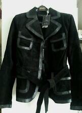 Ladies Next black Suede and leather jacket with belt Size 14