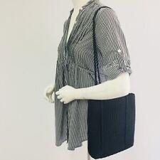 NINE WEST SHOULDER BAG BLACK Woven Fabric HANDBAG Purse 12X11