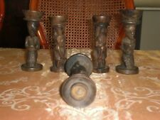 5 tres anciennes statuettes bougeoirs en ebene