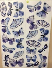 BLUE BUTTERFLIES wall sticker 24 decals room decor flying bugs insect fluttering